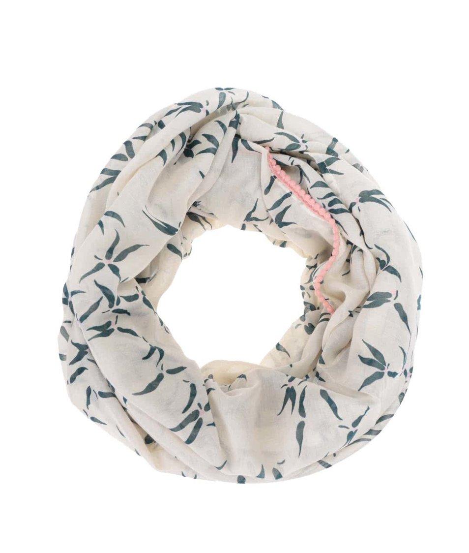 Krémový dutý šátek s potiskem lístků Vero Moda Spin