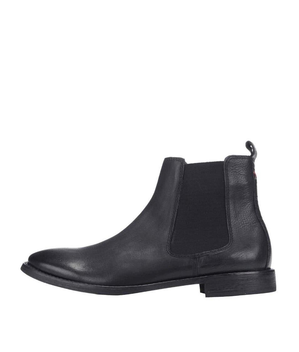 Černé kožené kotníkové chelsea boty Frank Wright Omar