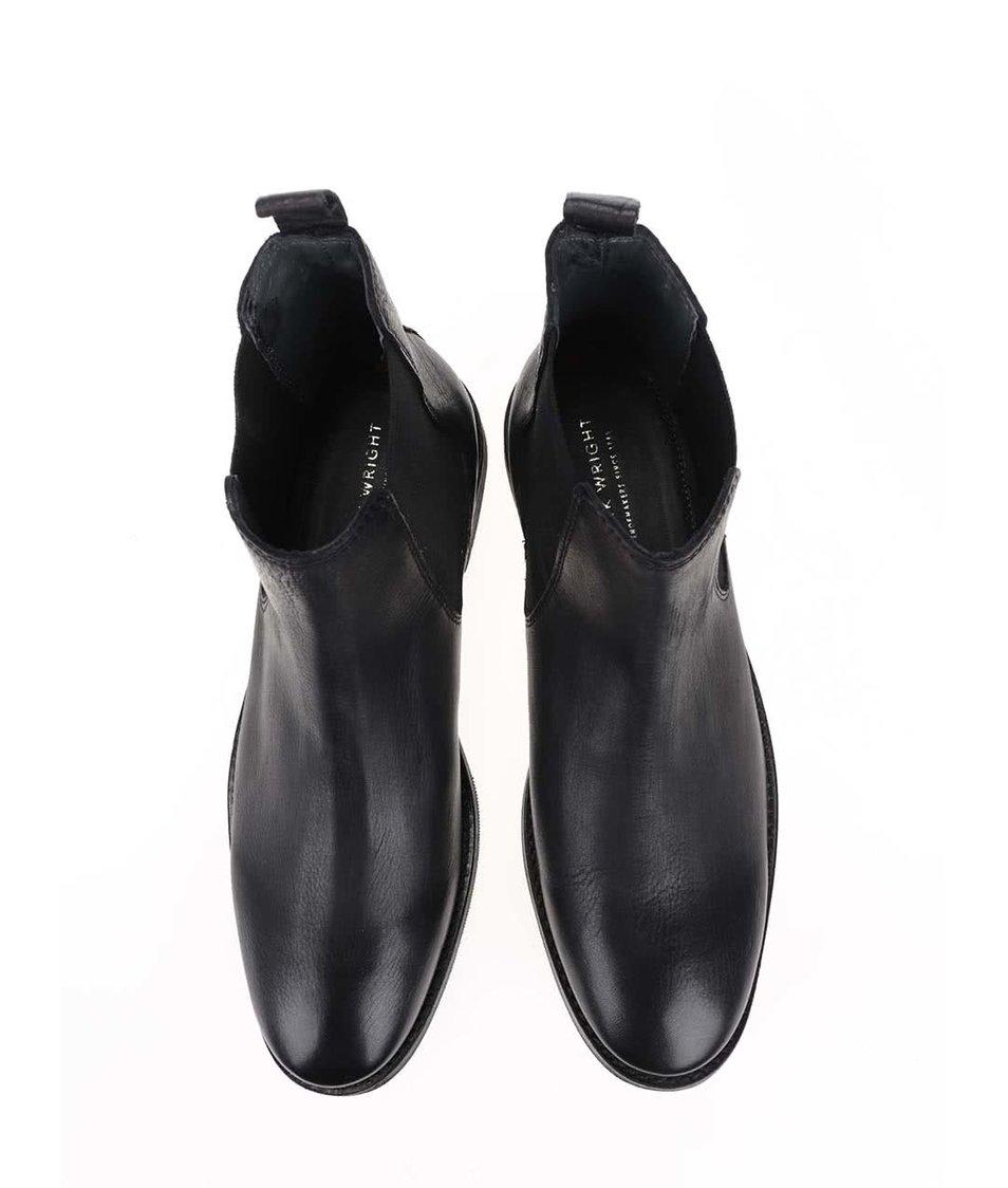 Černé kožené kotníkové chelsa boty Frank Wright Omar