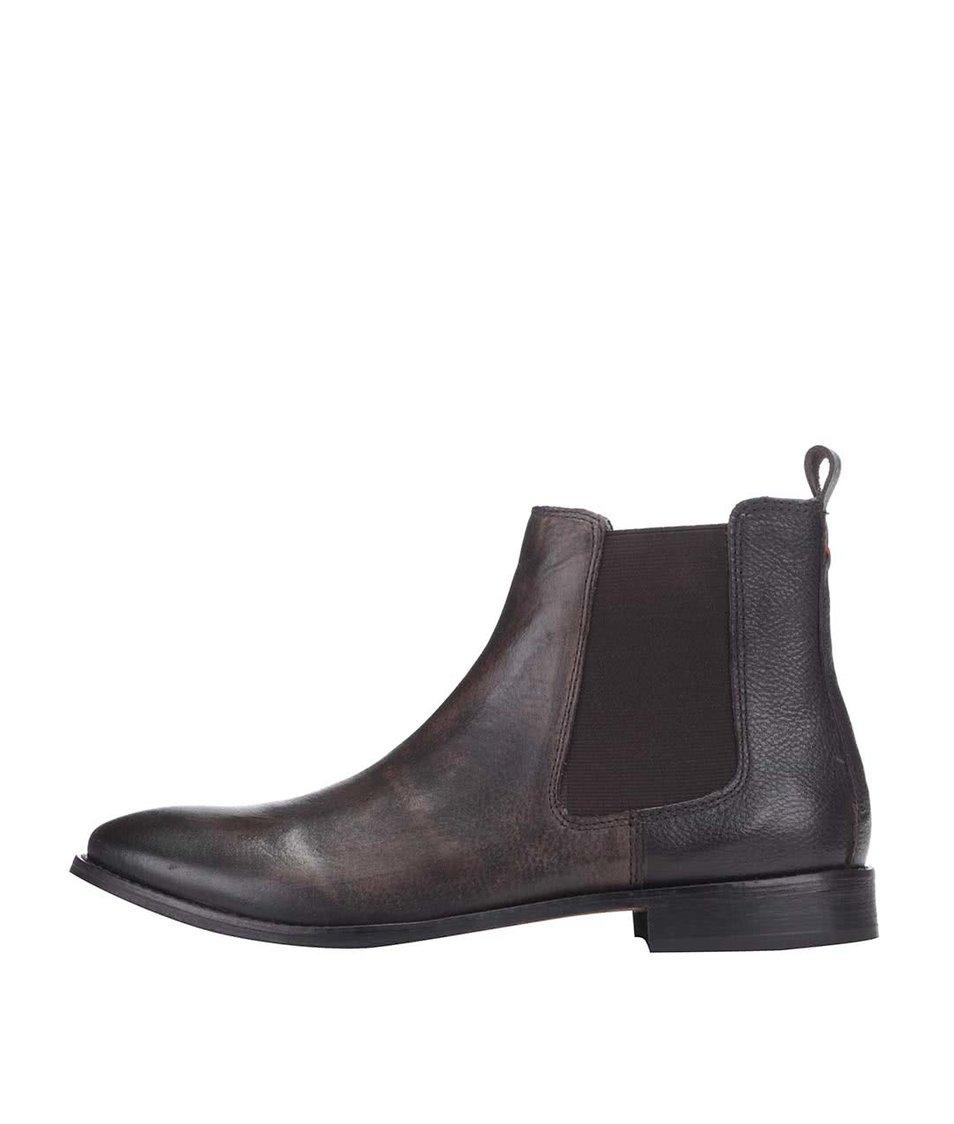 Tmavě hnědé kožené kotníkové chelsea boty Frank Wright Omar