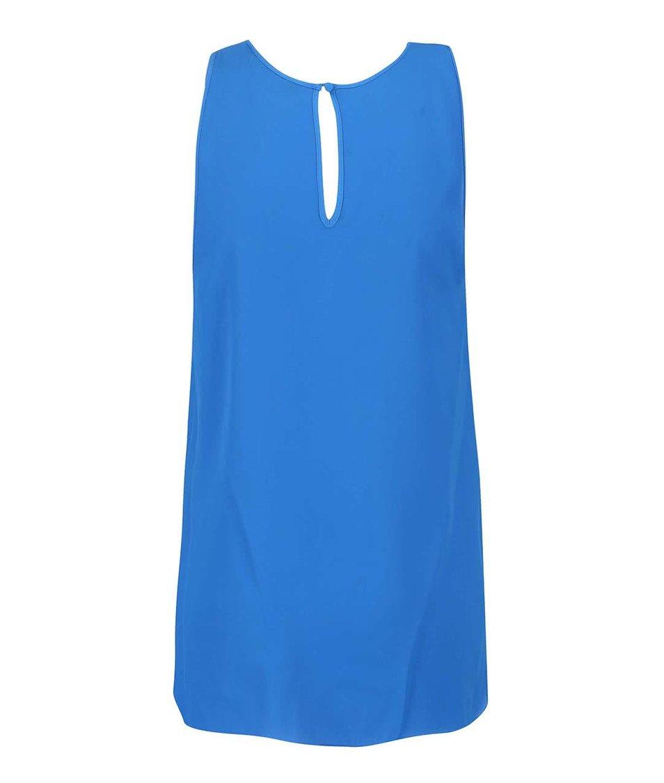 Modrá poloprůsvitná halenka bez rukávů Dorothy Perkins