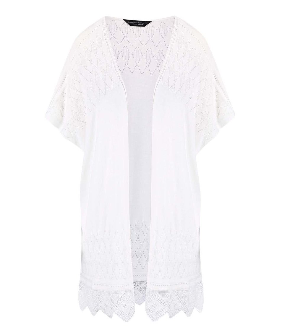 Krémové kimono s krajkovými detaily bez zapínání Dorothy Perkins