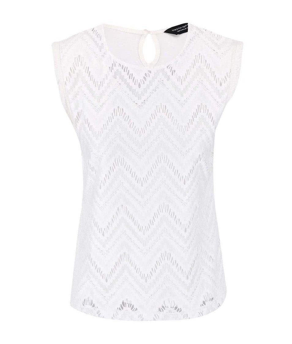 Krémové perforované tričko Dorothy Perkins