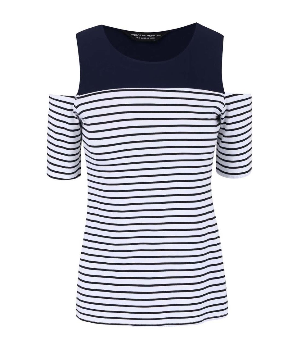 Tmavě modré pruhované tričko s průstřihy na ramenou Dorothy Perkins