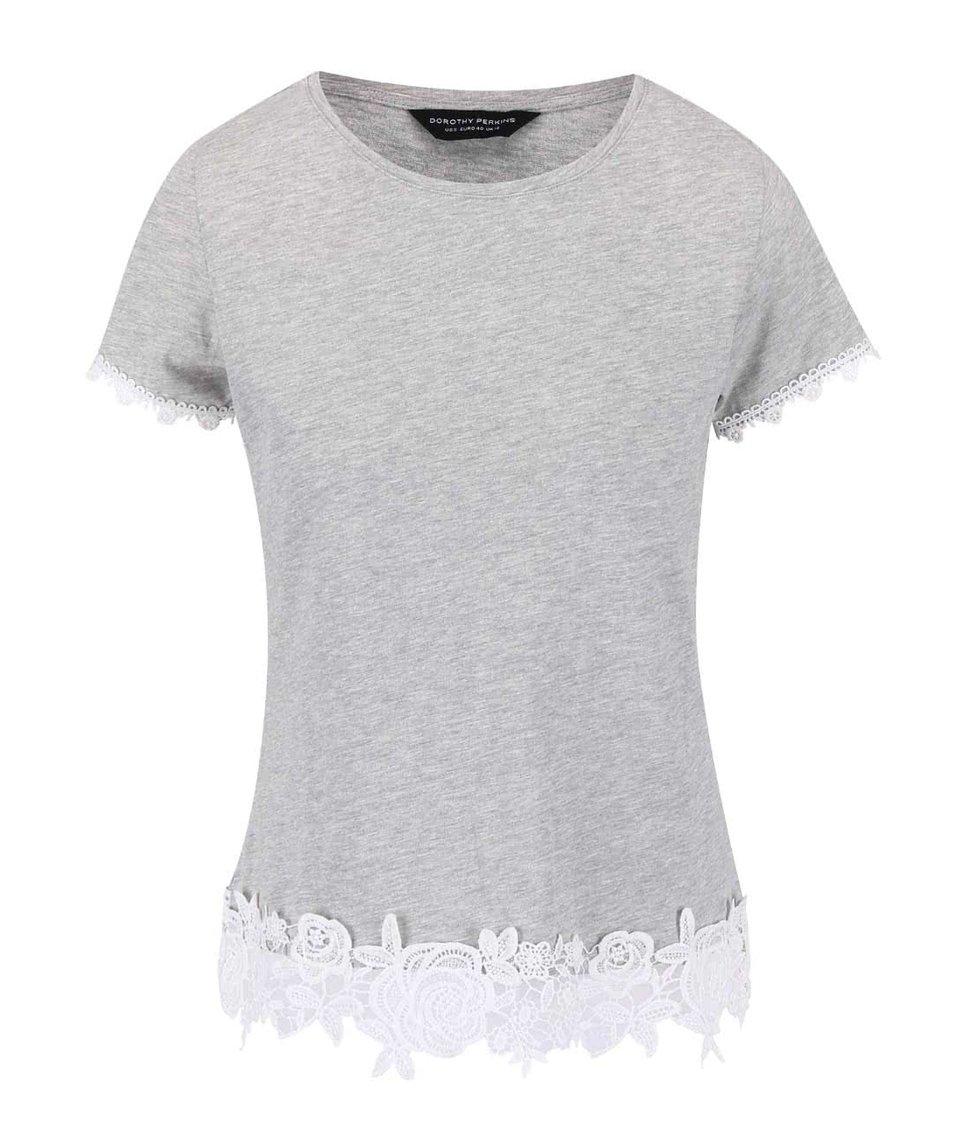 Šedé tričko s květinovou krajkou Dorothy Perkins