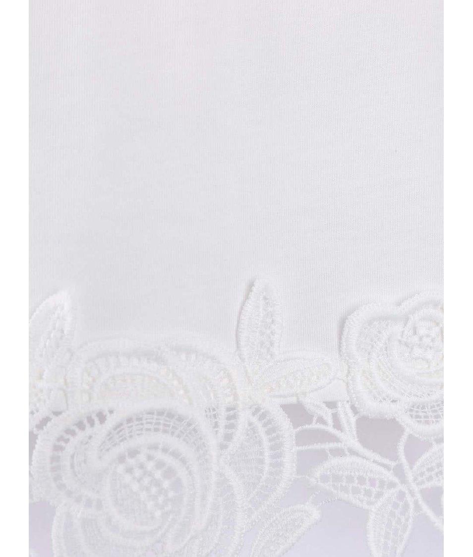 Krémové tričko s květinovou krajkou Dorothy Perkins