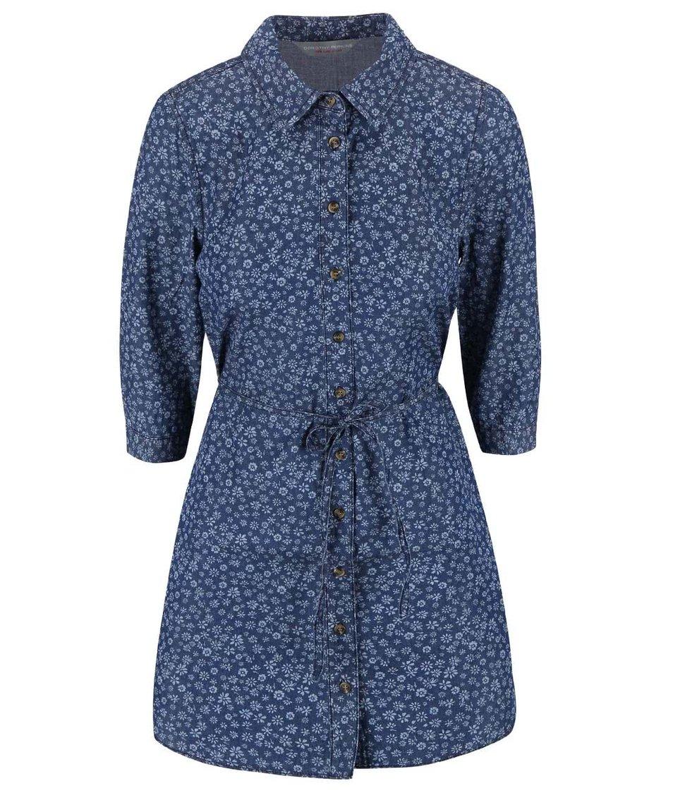 Tmavě modré květinové šaty Dorothy Perkins Petite