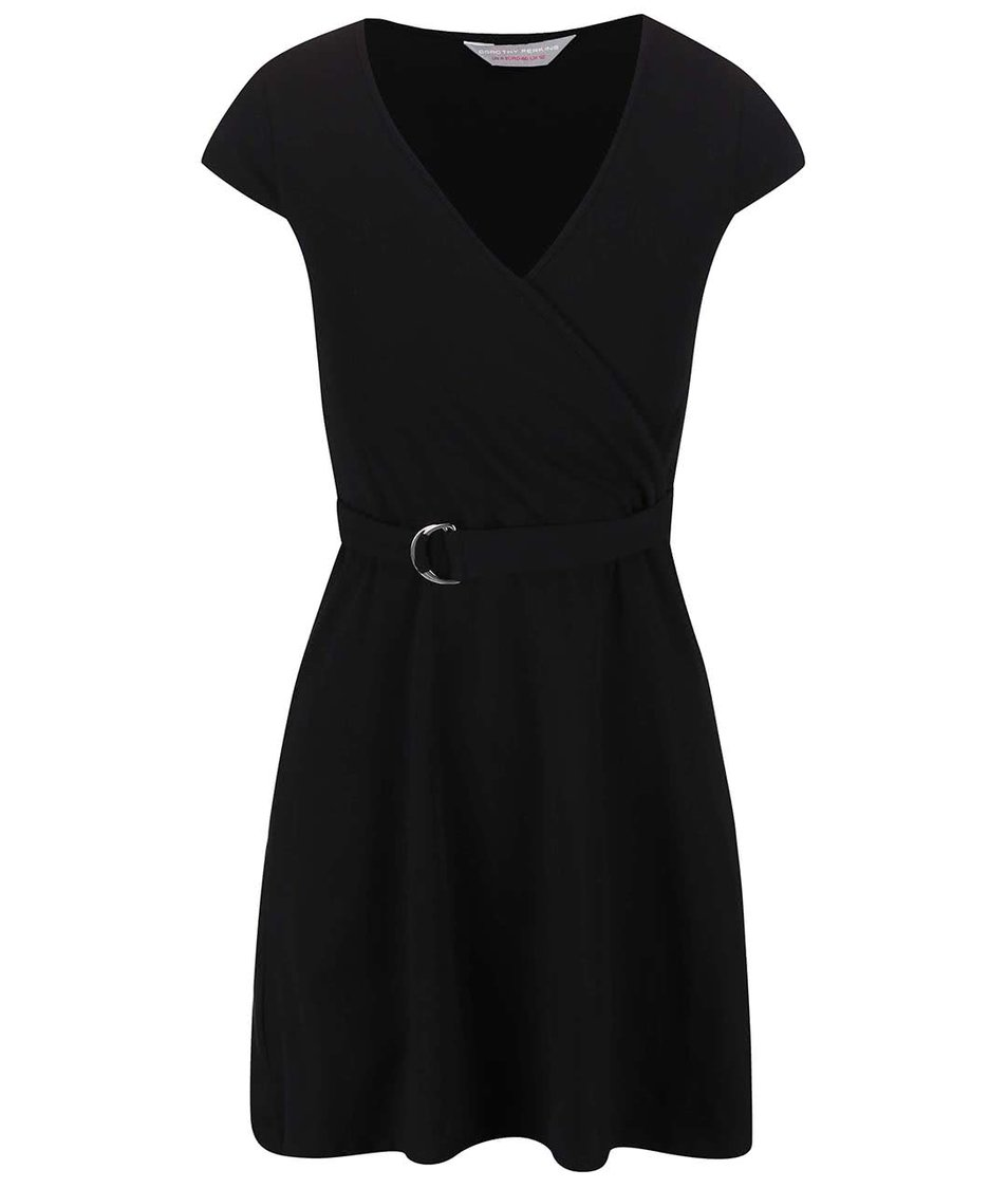 Černé šaty s páskem Dorothy Perkins Petite