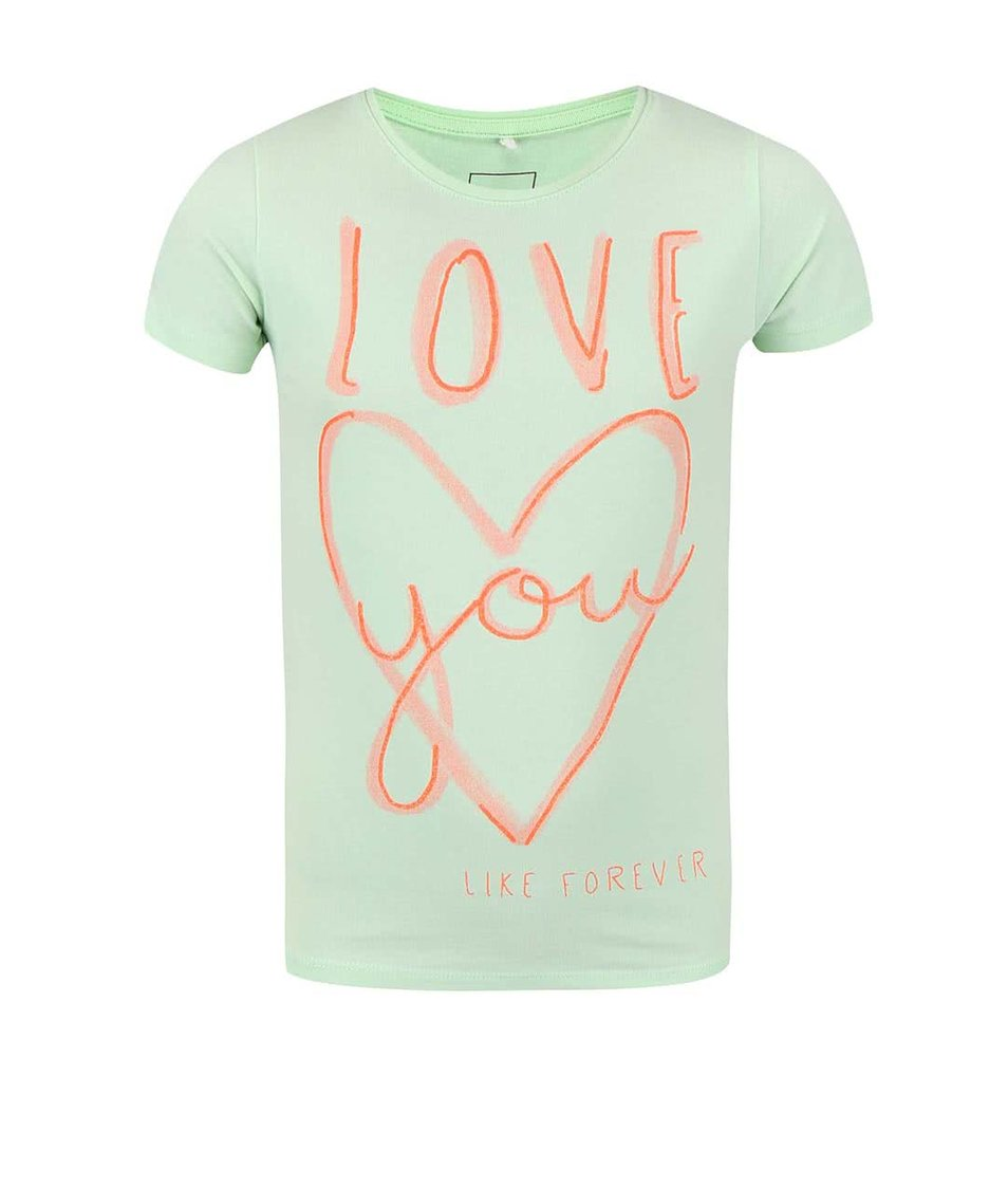 Zelené holčičí tričko s nápisem a srdcem name it Giffa