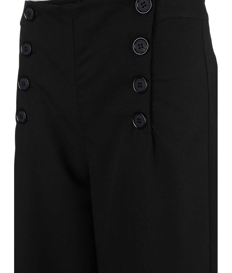 Černé dámské volné kalhoty s knoflíky Alchymi