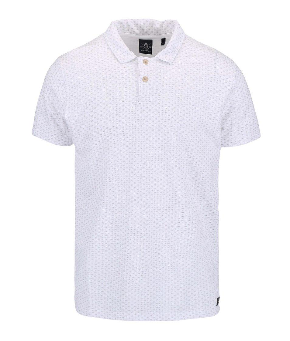 Bílé pánské polo triko se vzory Broadway Erland