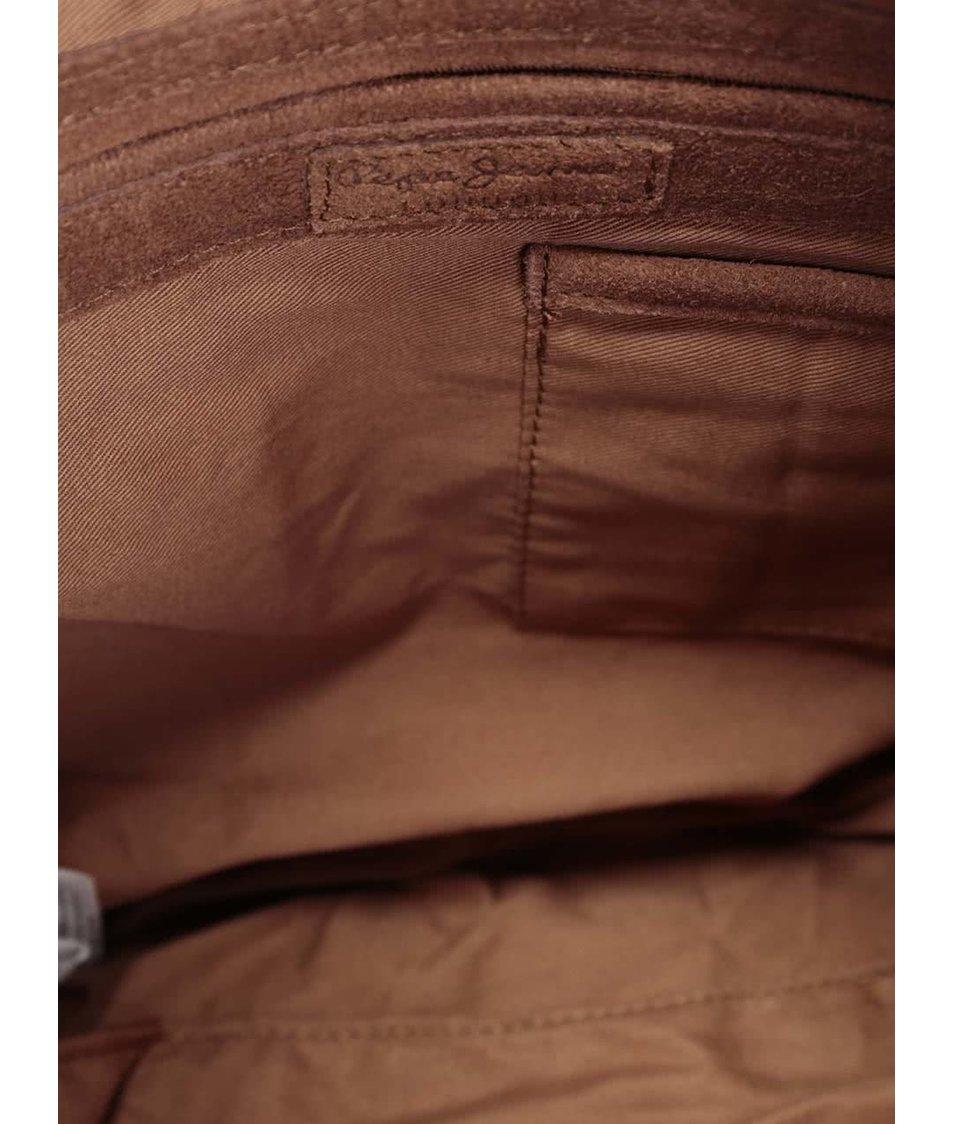 Hnědá kožená kabelka Pepe Jeans Alger