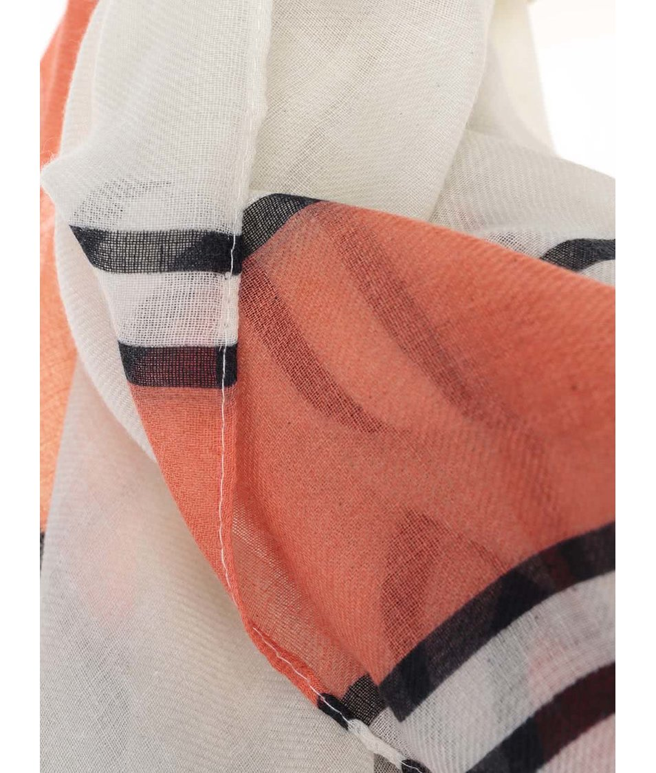 Krémový dámská šátek s červeno-černými pruhy Broadway Dulcina