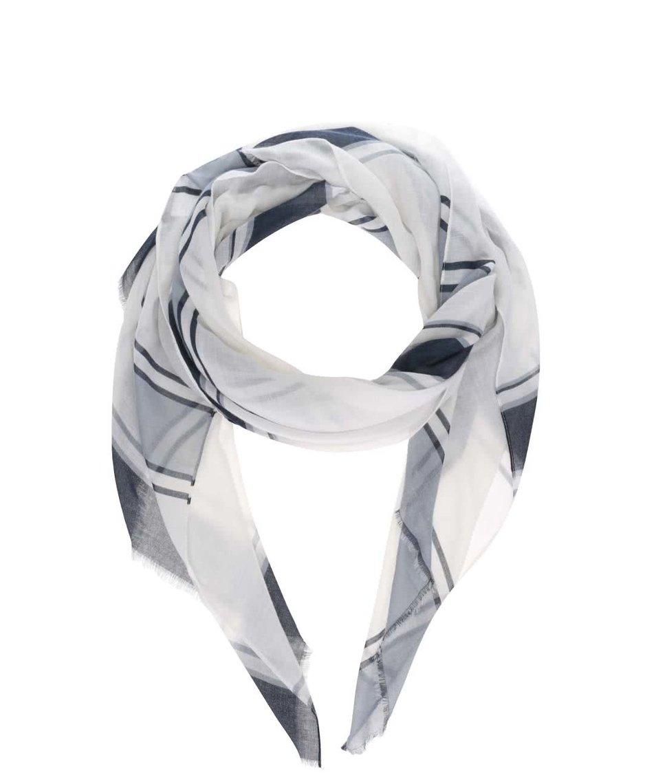 Krémový dámský šátek s modrými-černými pruhy Broadway Dulcina