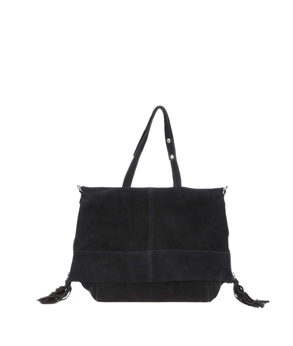 Černá kožená kabelka Pepe Jeans Alger
