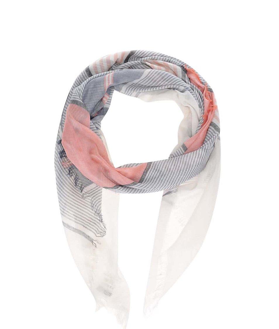 Růžovo-šedý dámský pruhovaný šátek Broadway Dulcia