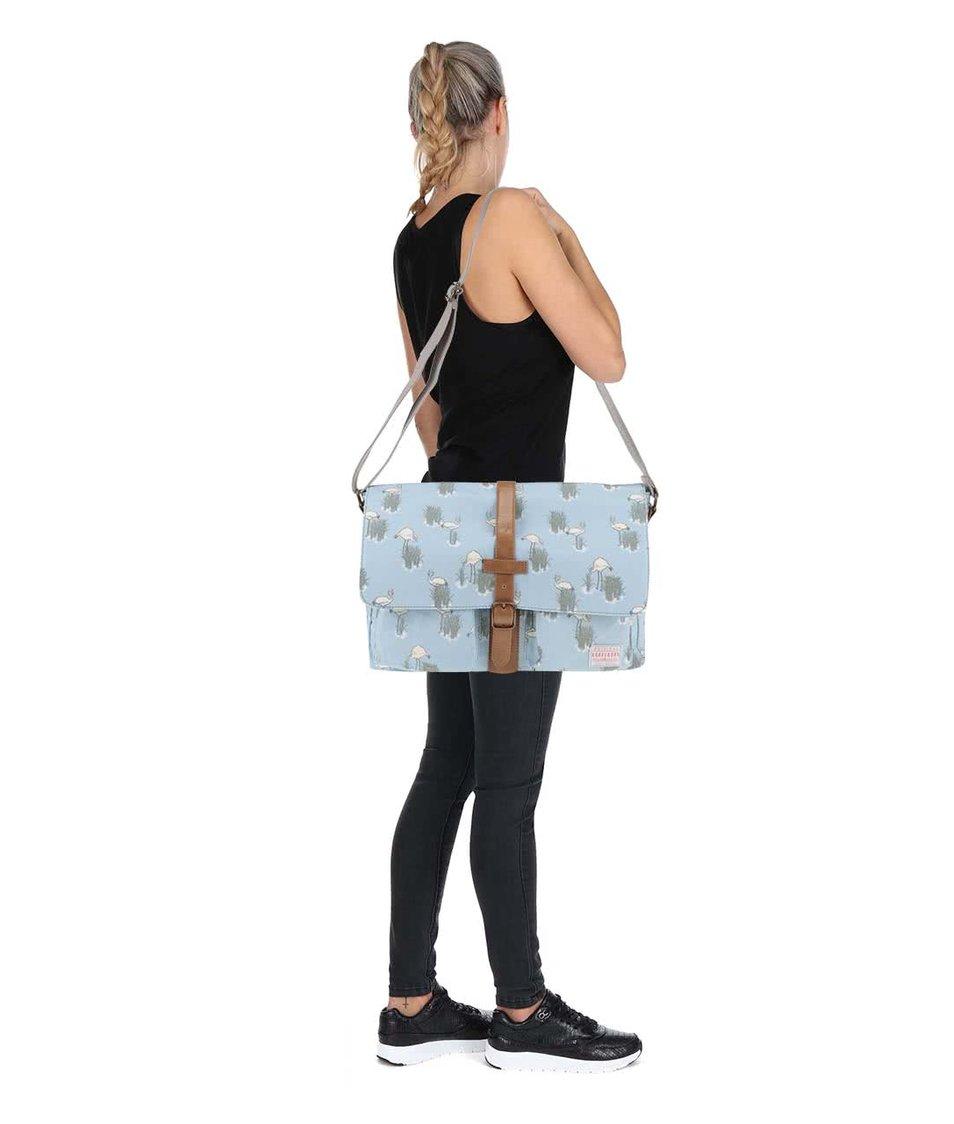 Světle modrá taška přes rameno s plameňáky Brakeburn Flamingo