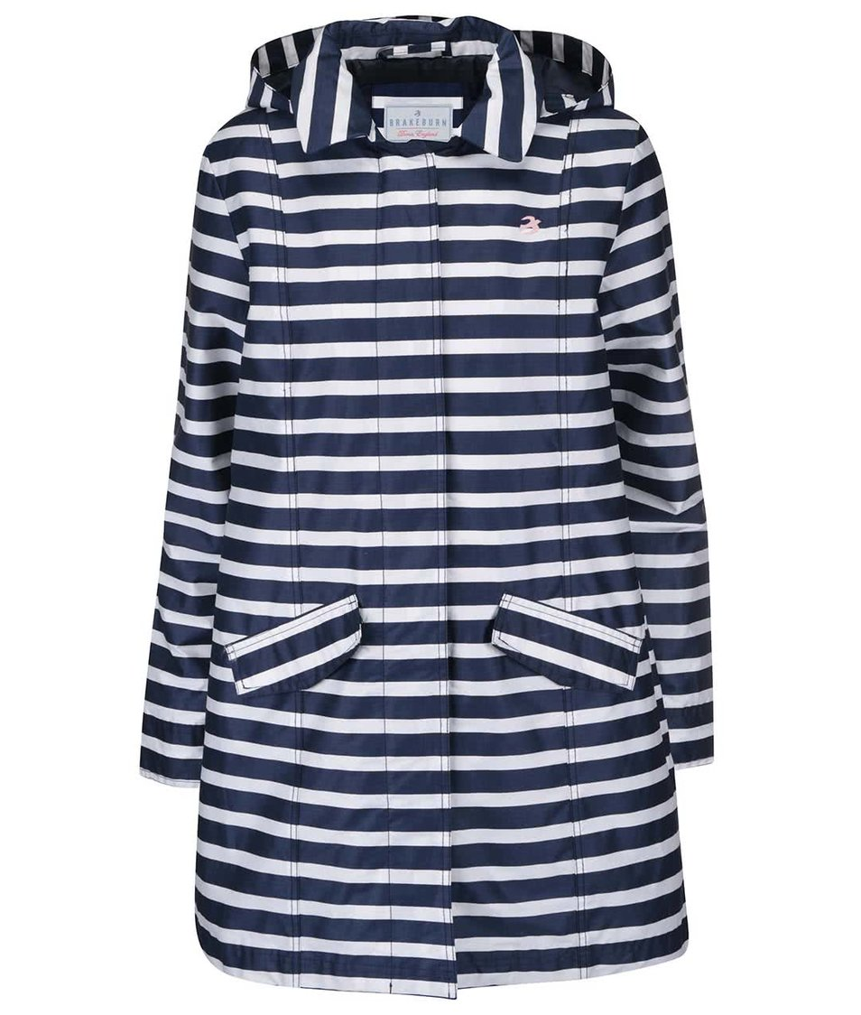Bílo-modrý pruhovaný nepromokavý kabát Brakeburn Stripe