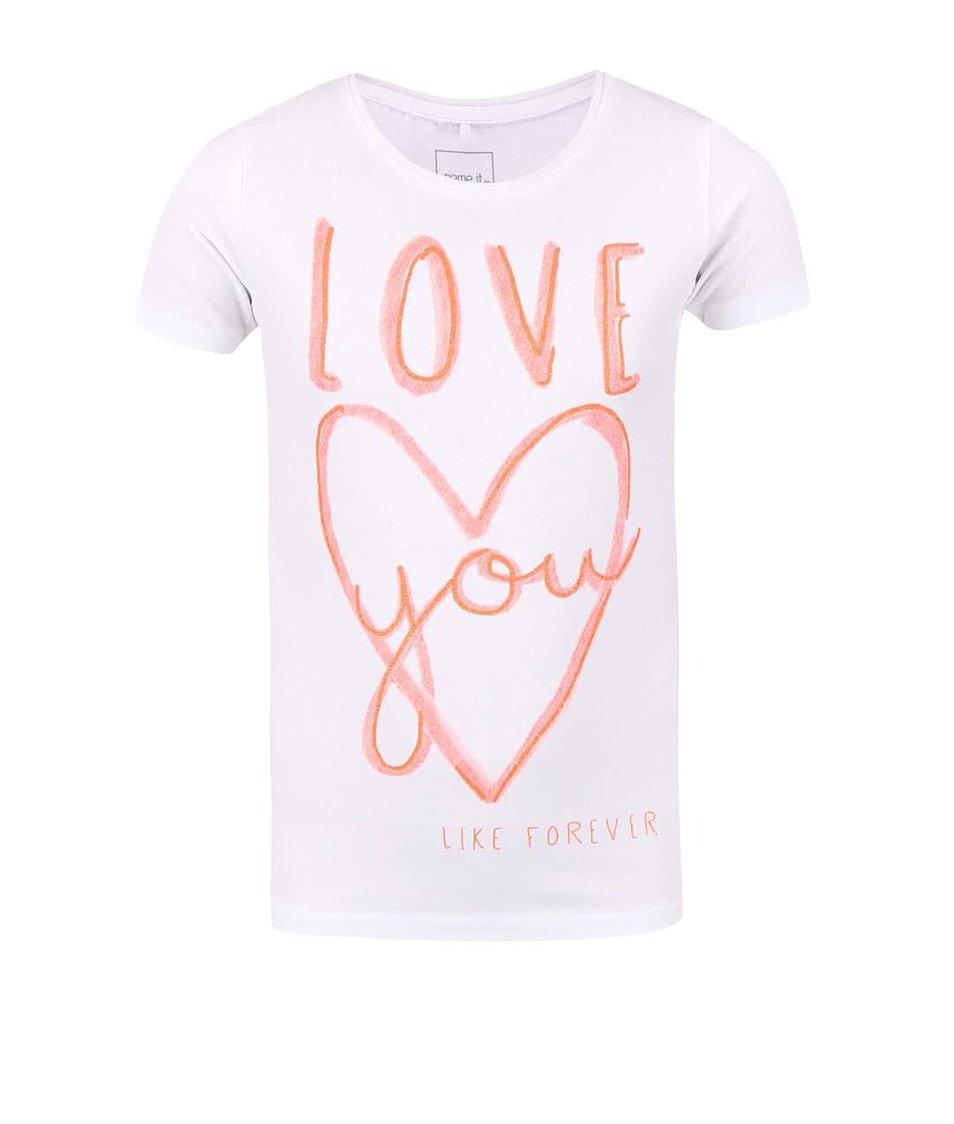Krémové holčičí tričko s nápisem a srdcem name it Giffa