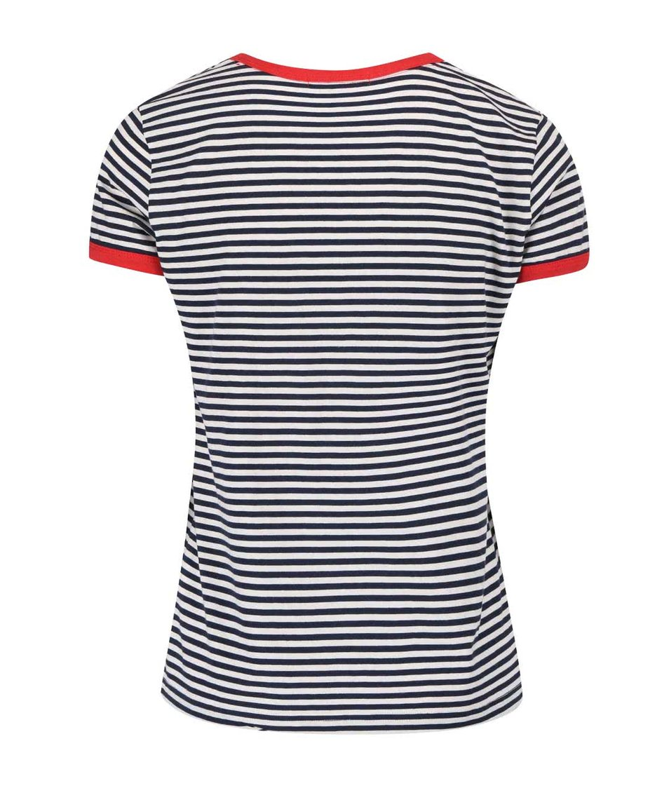 Černo-bílé pruhované tričko s červenými lemy Pepe Jeans Donna