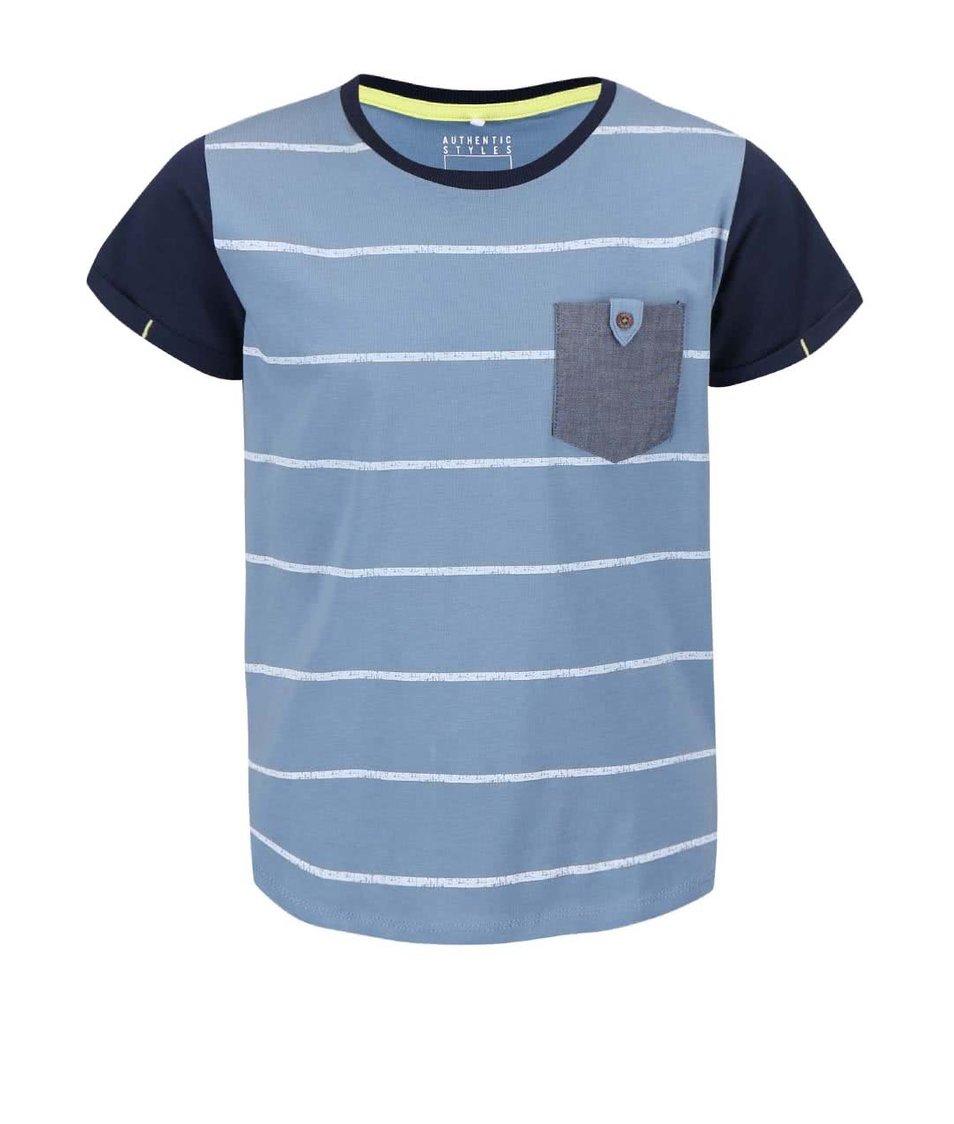 Modré klučičí pruhované triko name it Gike