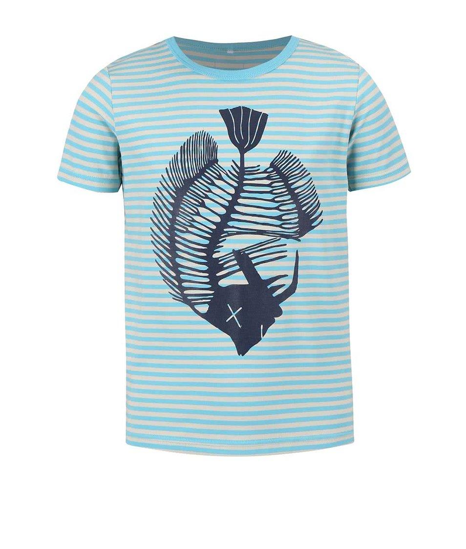 Krémovo-modré klučičí pruhované tričko name it Vux
