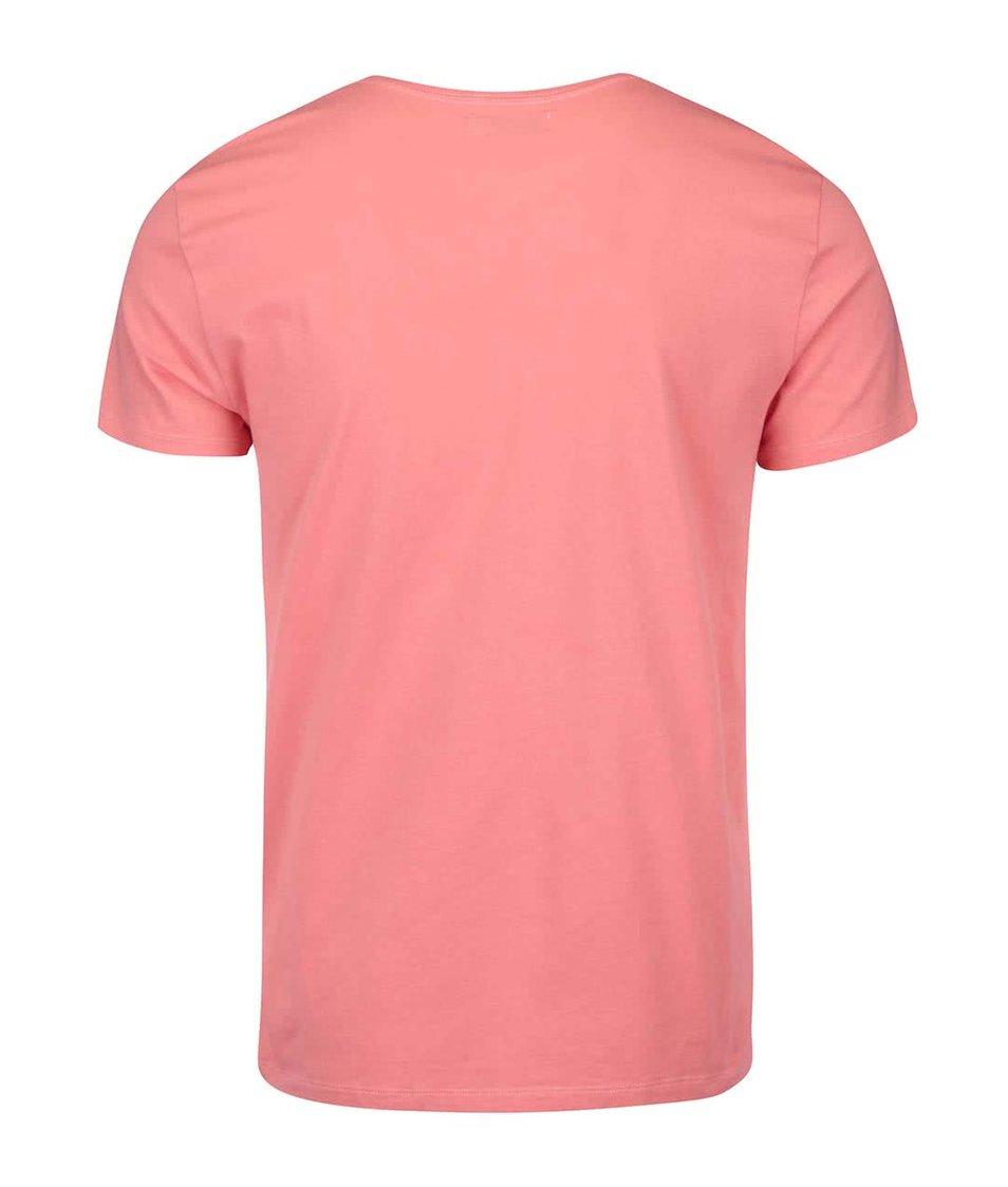 Korálové pánské triko s kulatým výstřihem Pepe Jeans Original