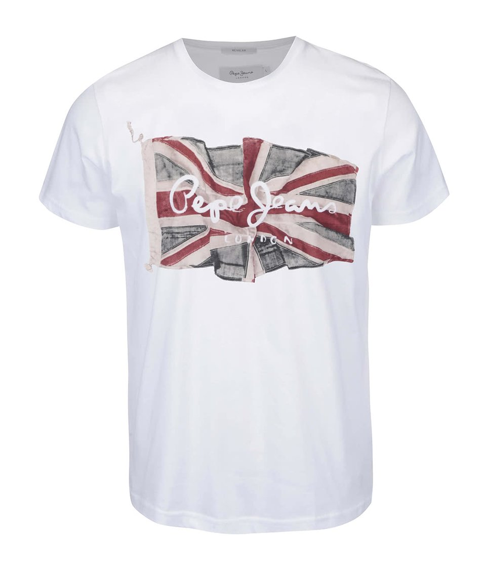 Bílé pánské triko s vlajkou Pepe Jeans Flag