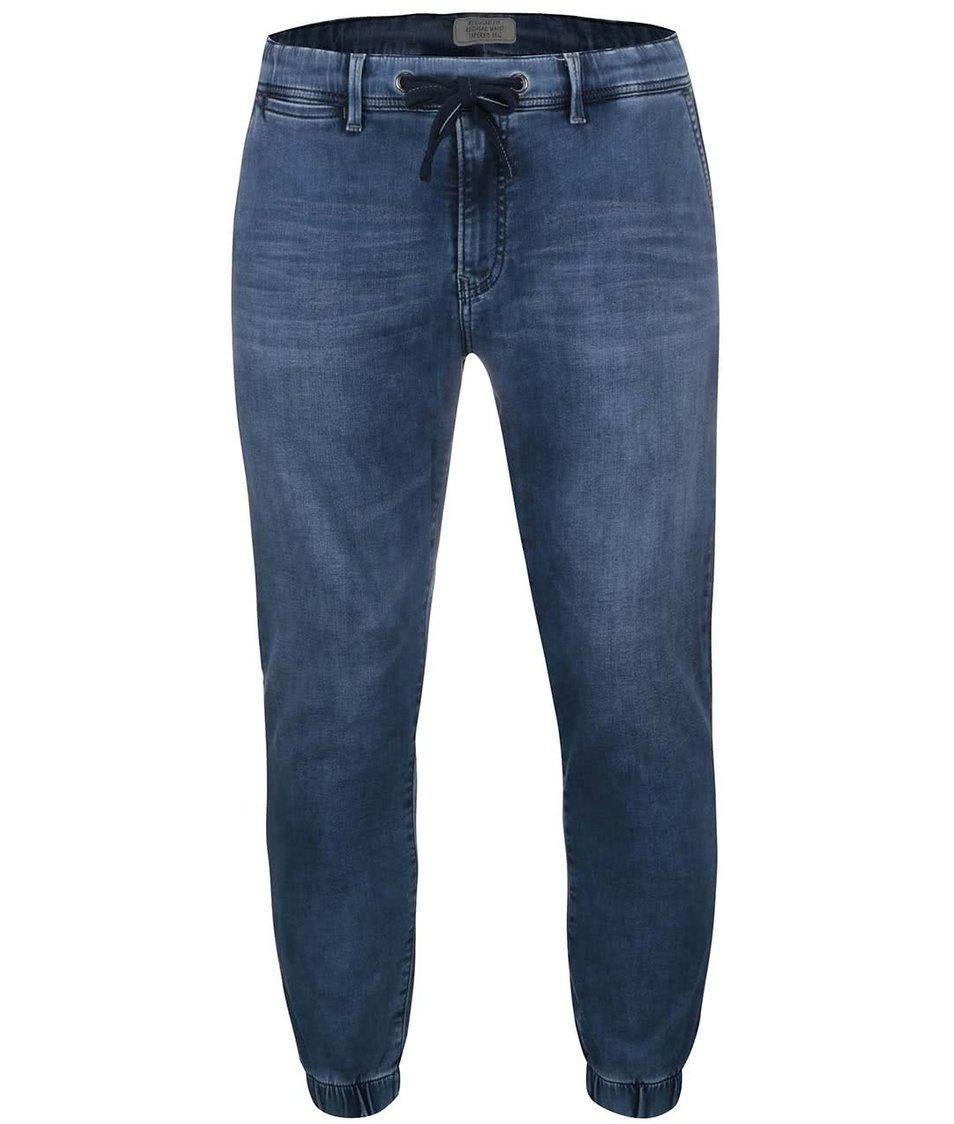 Tmavě modré pánské  džíny s gumou u kotníků Pepe Jeans Slack