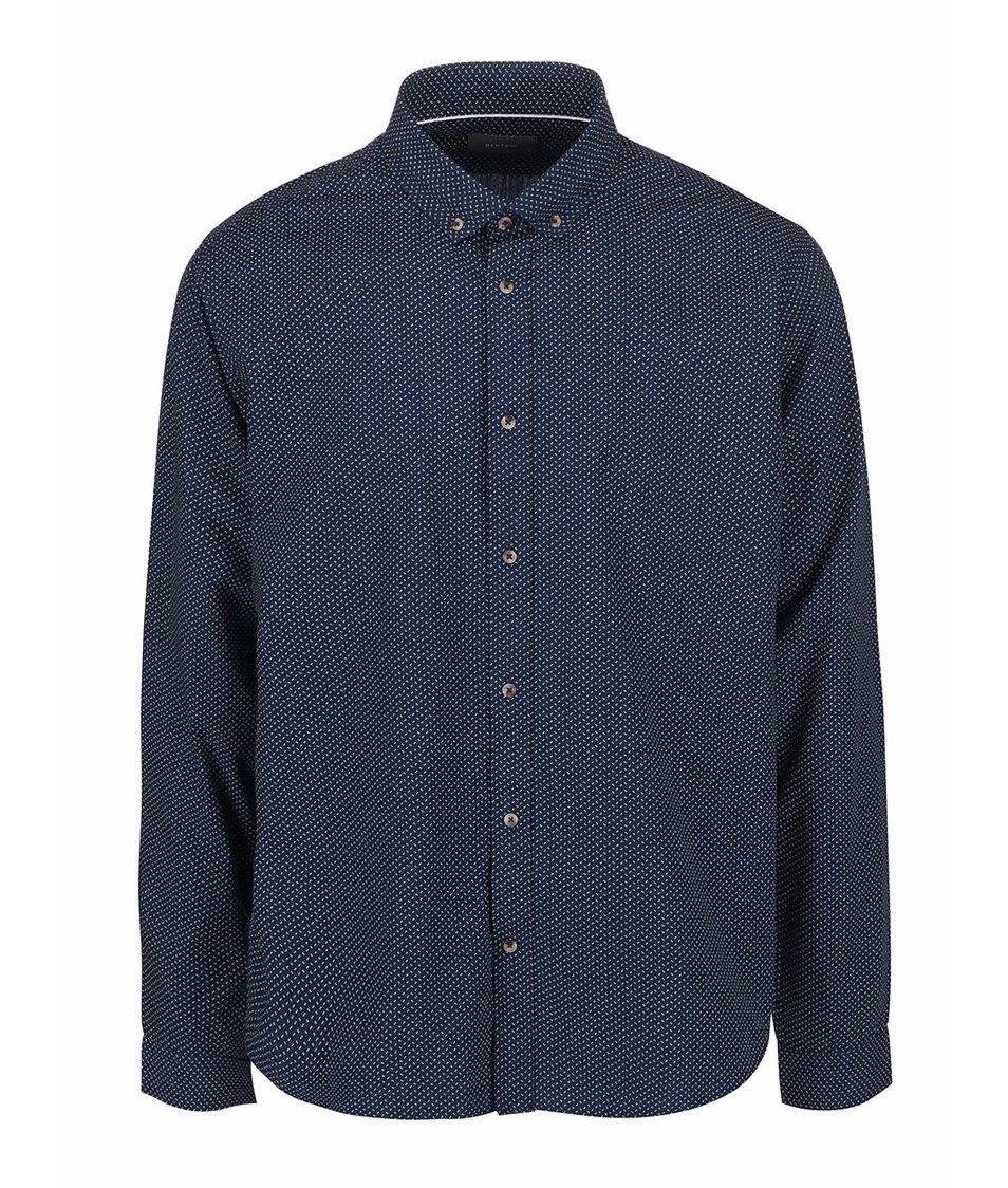 Tmavě modrá košile s drobným bílým vzorem Bertoni Malte