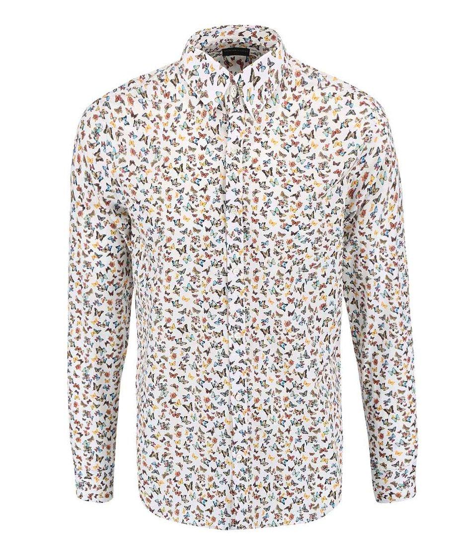 Bílá košile s potiskem motýlů Selected Homme One Butterlfy
