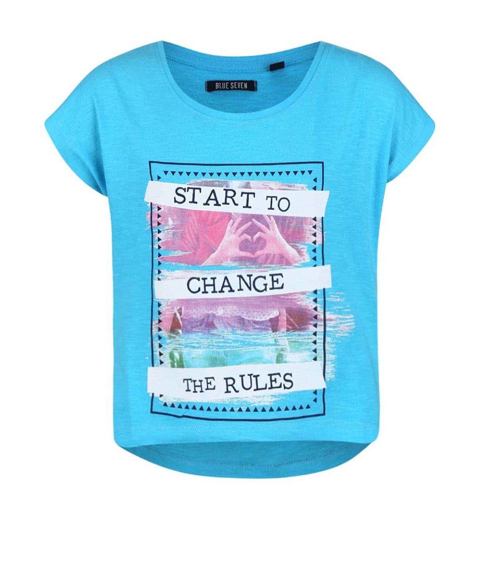 Tyrkysové holčíčí tričko s potiskem Blue Seven
