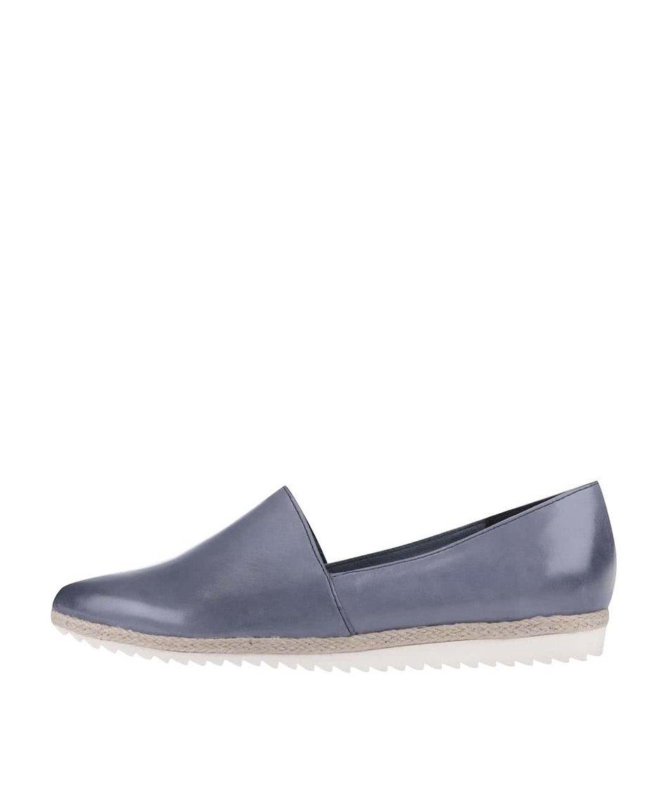 Modrošedé kožené loafers Tamaris
