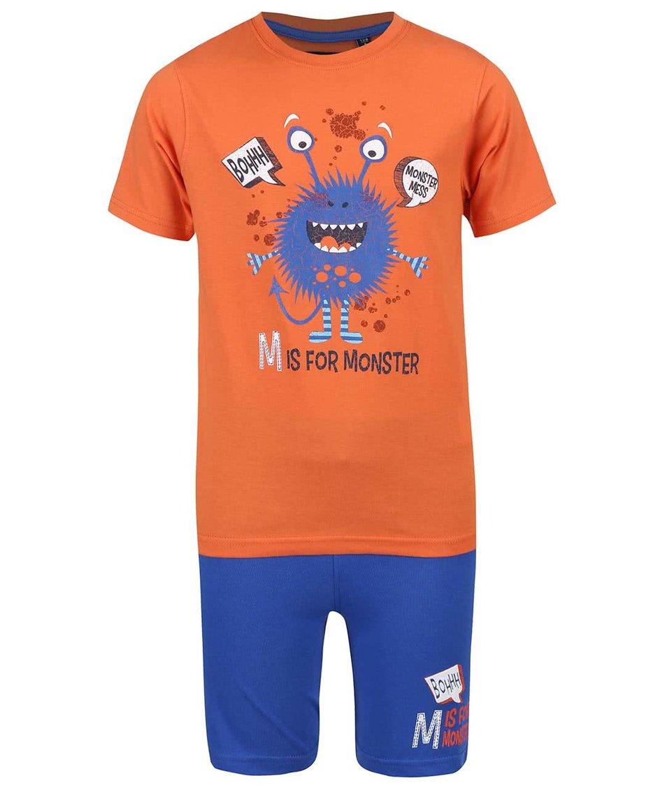 Modro-oranžový klučičí set triko s kraťasy Blue Seven