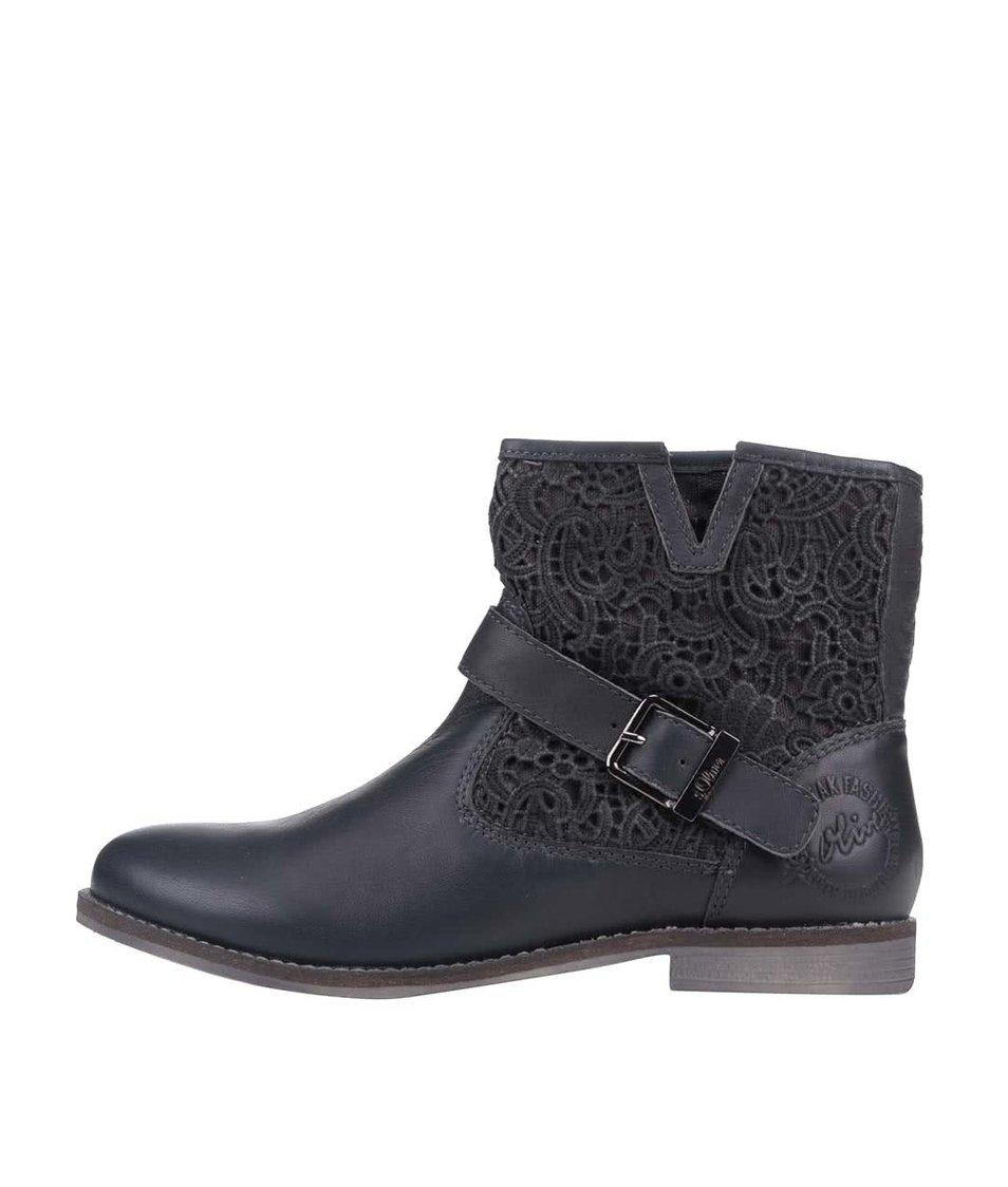 Tmavě šedé dámské kožené kotníkové boty s květovaným vzorem s.Oliver