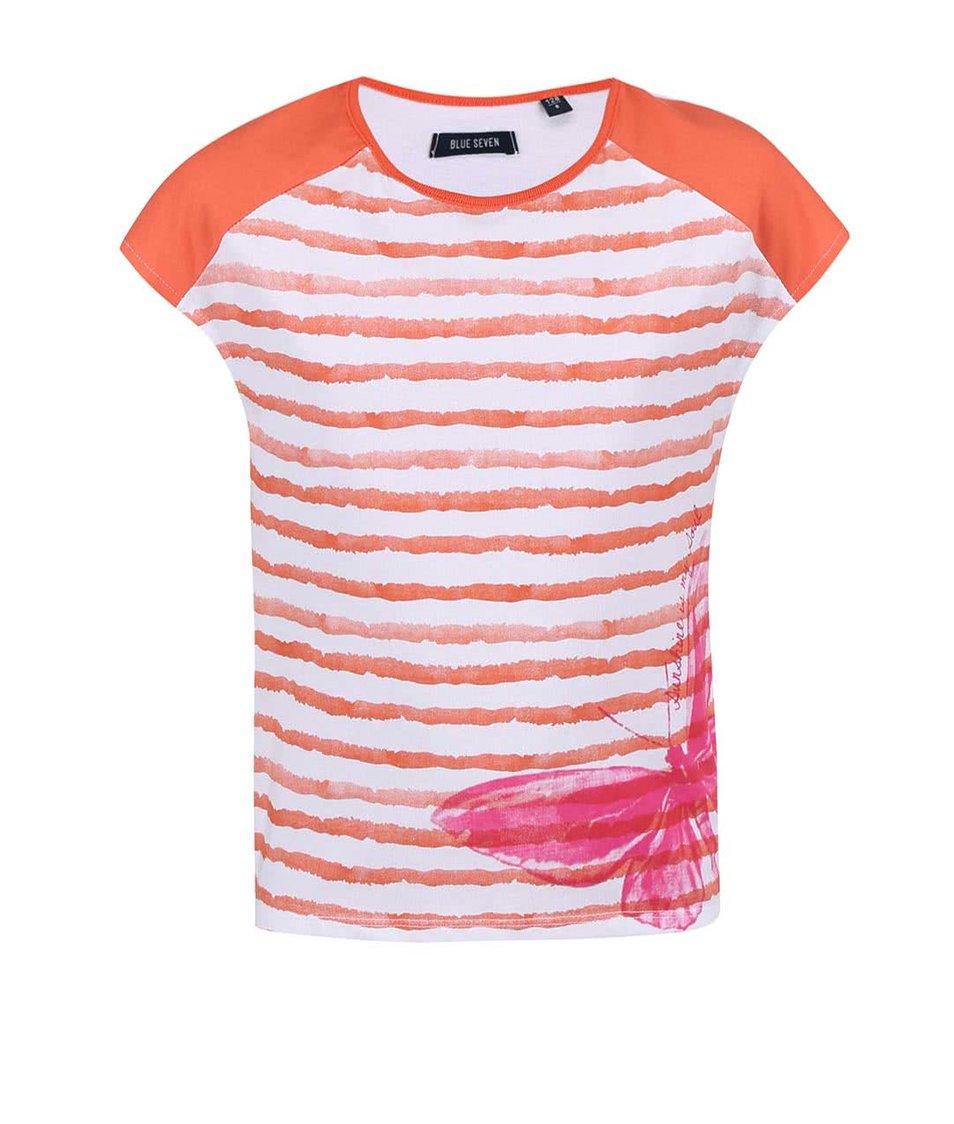 Bílo-oranžové holčičí pruhované tričko s motýlem Blue Seven