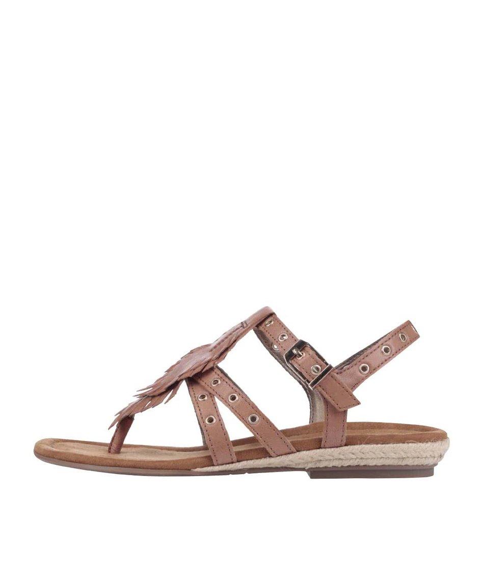 Hnědé kožené sandálky s kovovými cvočky Tamaris