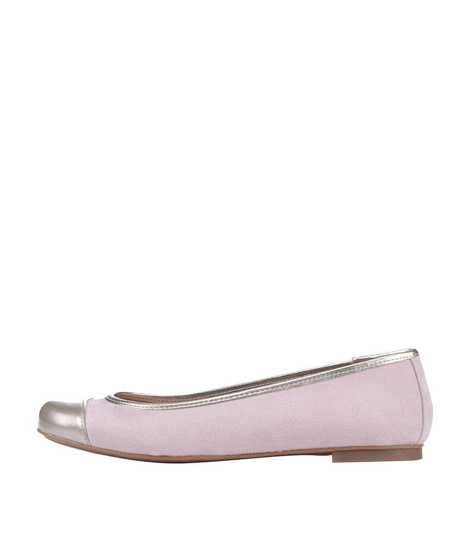 Světle růžové balerínky se špičkou v platinové barvě OJJU