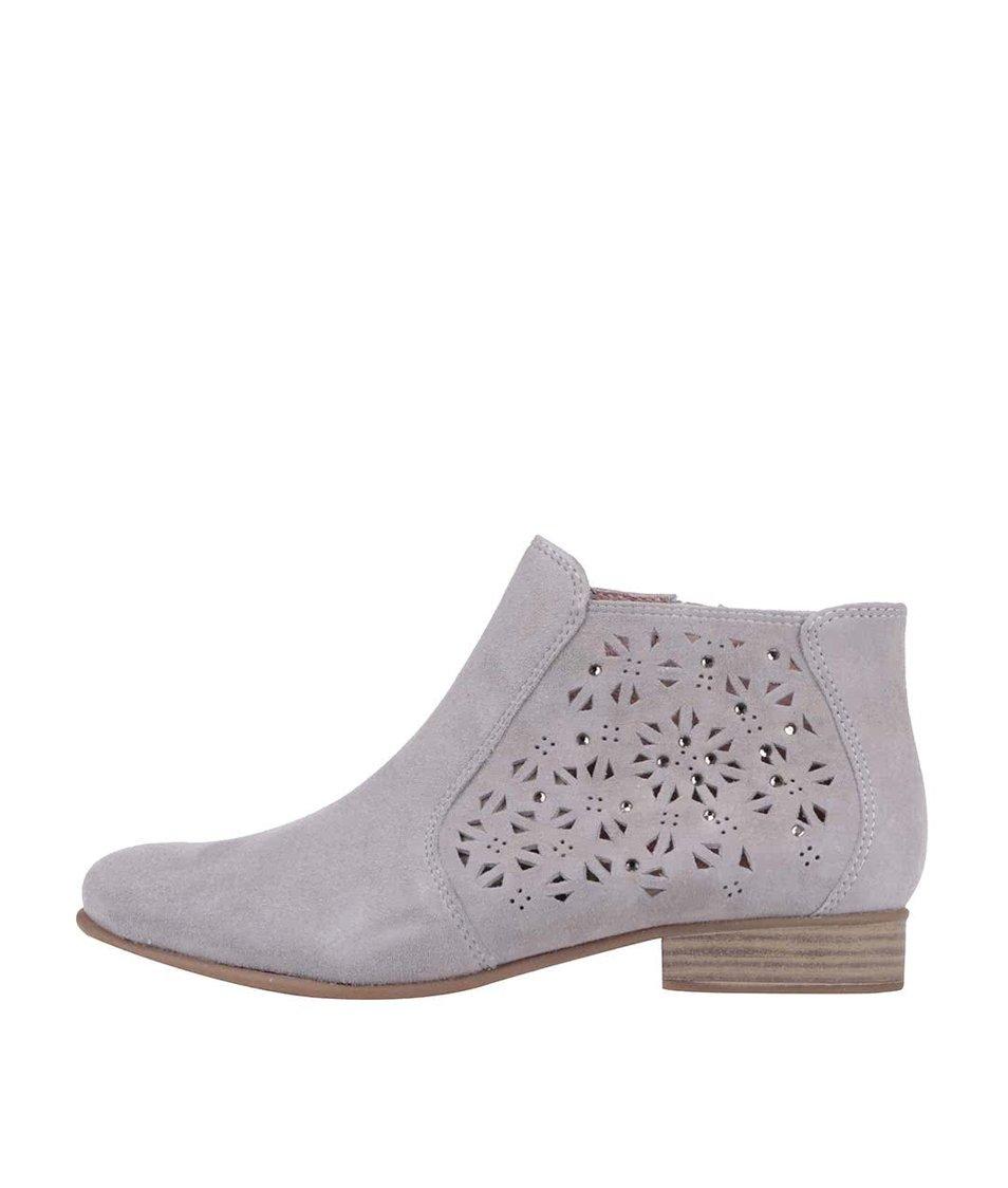 Šedé kožené kotníkové boty s perforovaným vzorem Tamaris