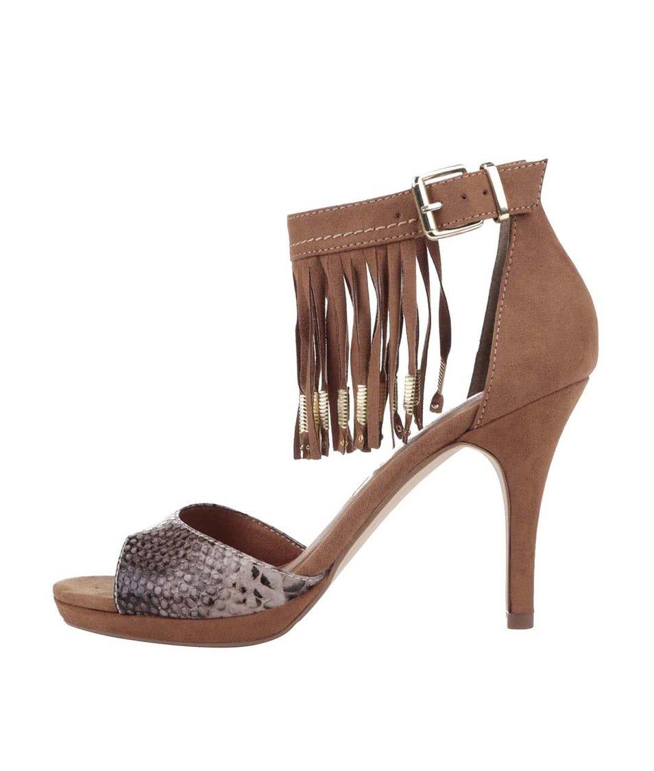 Hnědé boty na podpatku v semišové úpravě s třásněmi Tamaris
