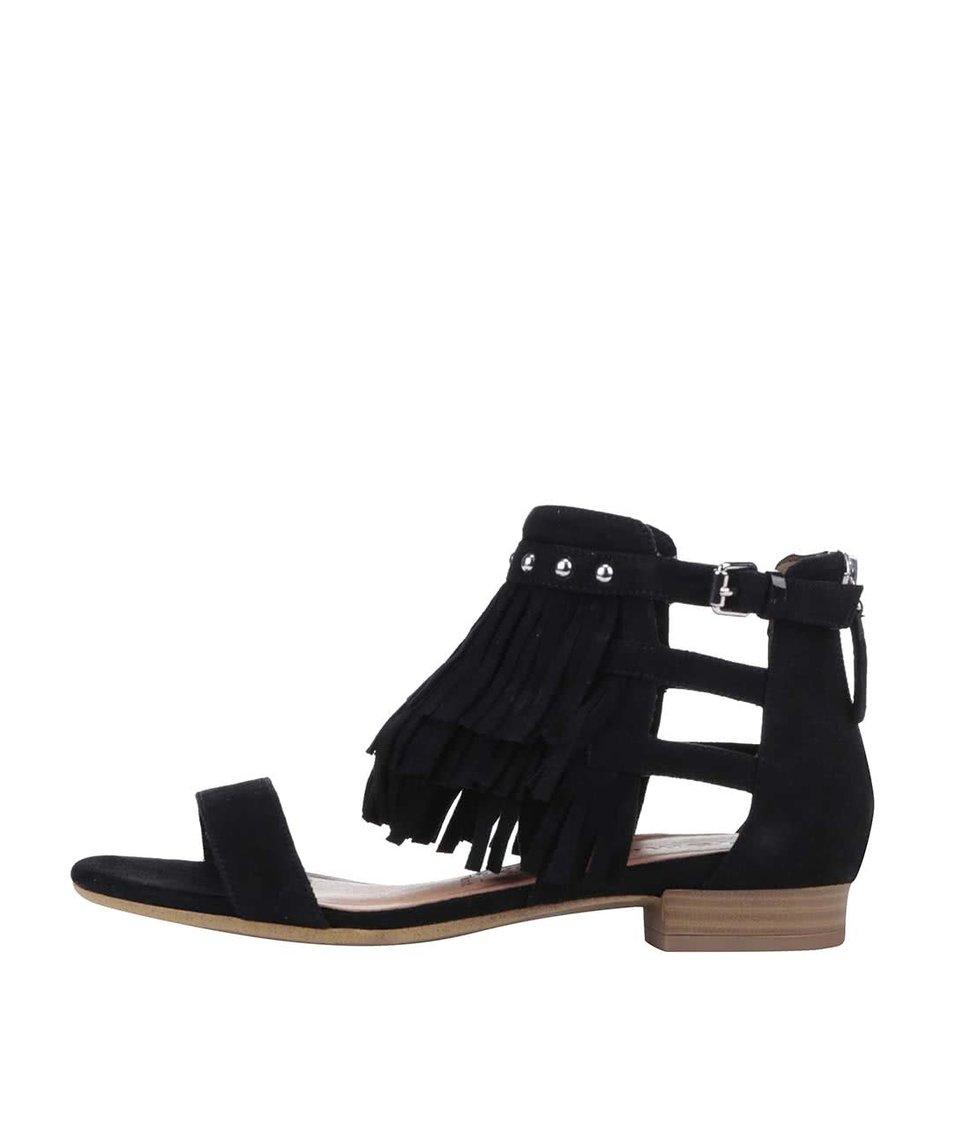 Černé semišové sandály s třásněmi Tamaris