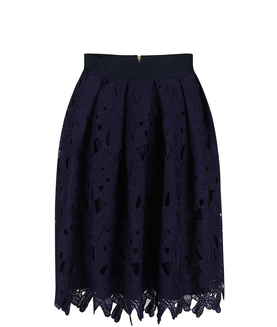 Tmavě fialová sukně s květinovou krajkou Closet