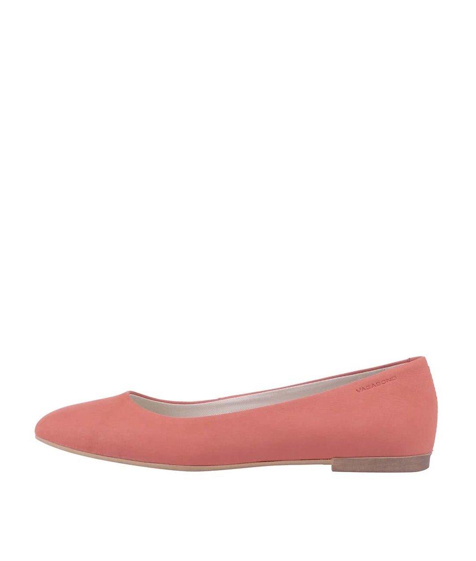 Růžové kožené balerínky Vagabond Ayden