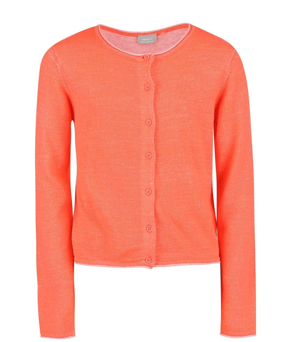Neonově oranžový holčičí svetr na knoflíky name it Galin