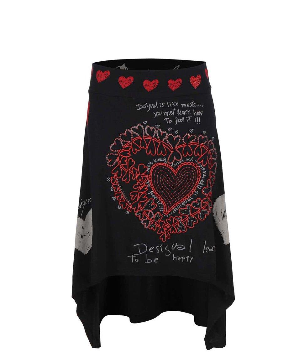 Černá asymetrická sukně s potiskem Desigual Laila