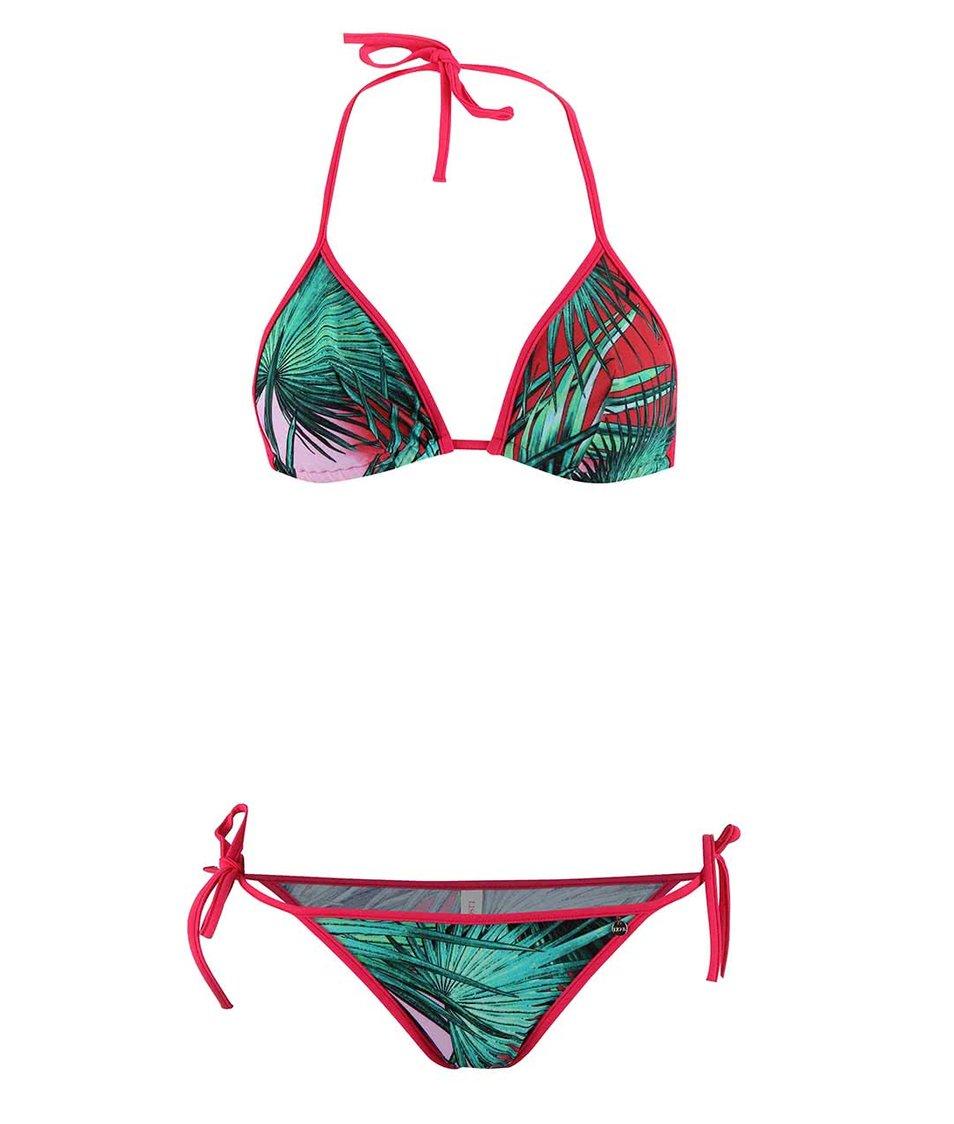 Růžovo-zelené dvoudílné plavky se vzorem palmy Lisca Ecuador