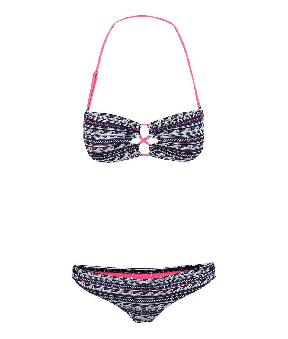 Růžovo-modré dvoudílné plavky se vzorem vlnek Roxy Bandeau/Strappy