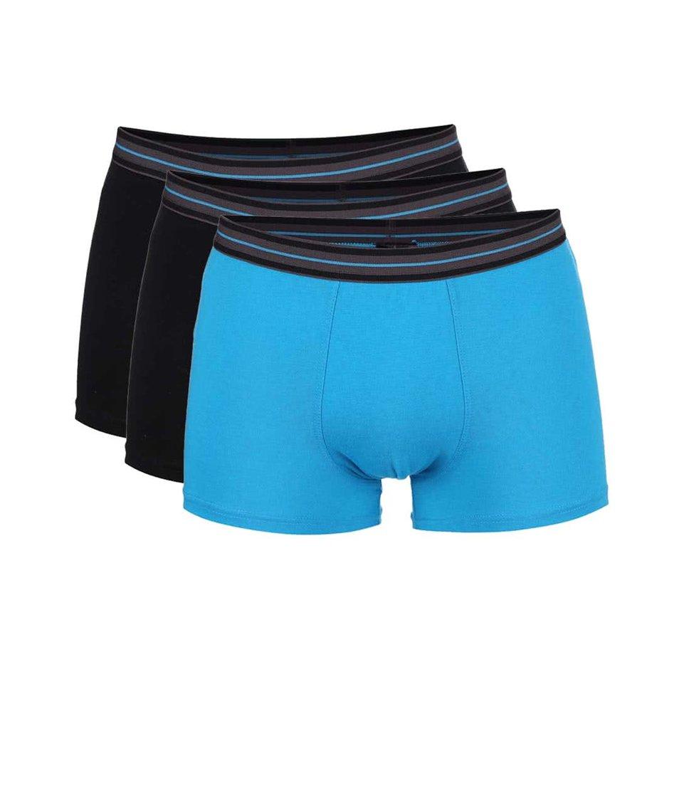 Sada tří boxerek v černé a tyrkysové barvě Marginal