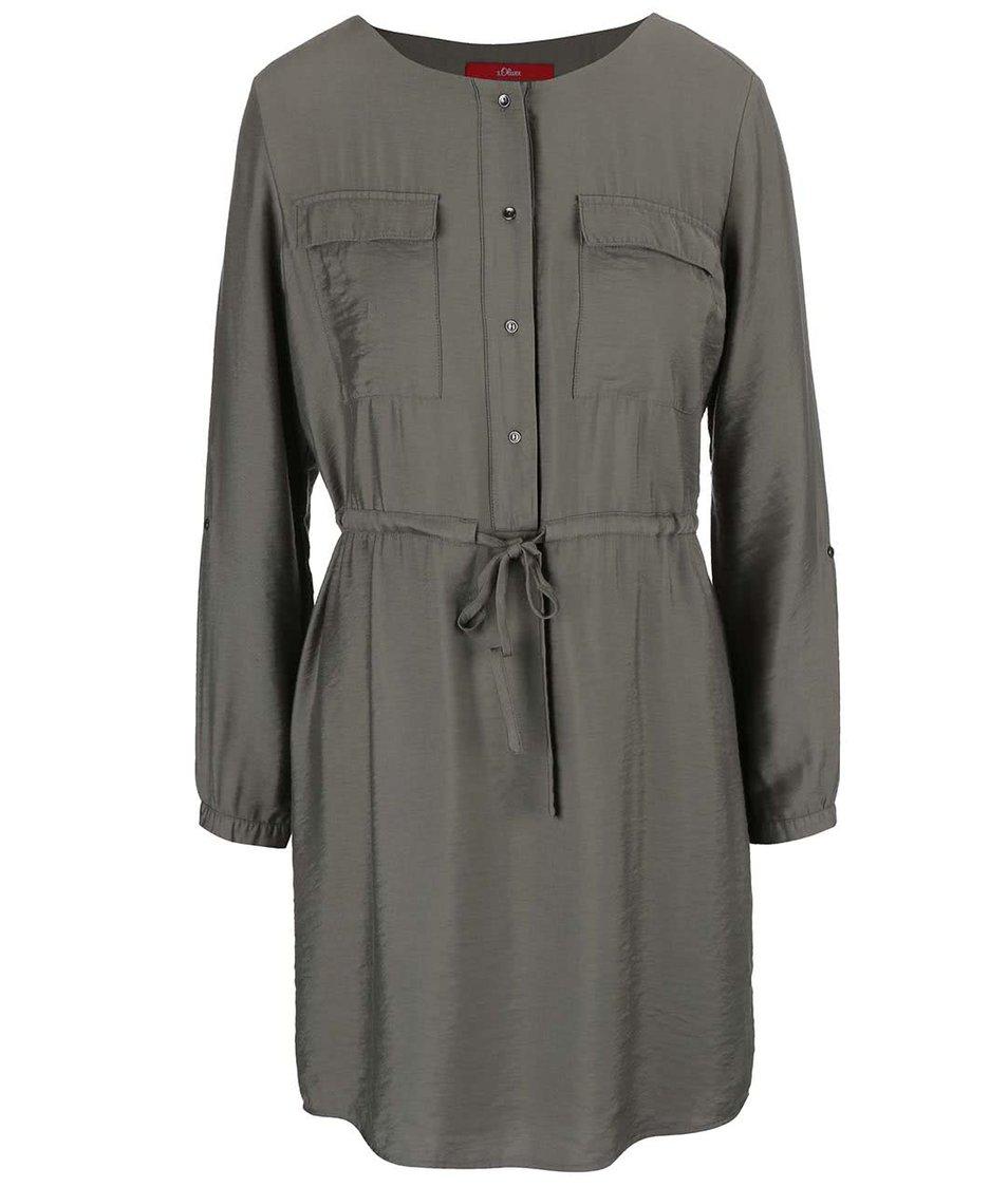 Khaki šaty s 3/4 rukávy s.Oliver
