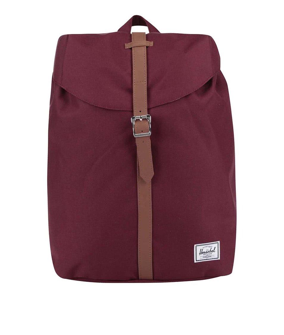 Vínový batoh s hnědým popruhem Herschel Post